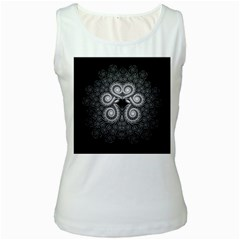 Fractal Filigree Lace Vintage Women s White Tank Top