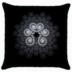 Fractal Filigree Lace Vintage Throw Pillow Case (black)