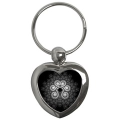 Fractal Filigree Lace Vintage Key Chains (heart)