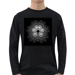 Fractal Filigree Lace Vintage Long Sleeve Dark T Shirts