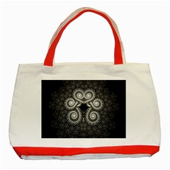 Fractal Filigree Lace Vintage Classic Tote Bag (red)