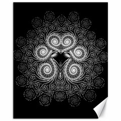 Fractal Filigree Lace Vintage Canvas 11  X 14