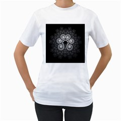 Fractal Filigree Lace Vintage Women s T Shirt (white)