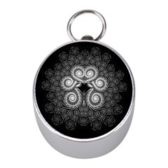 Fractal Filigree Lace Vintage Mini Silver Compasses
