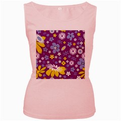 Floral Flowers Women s Pink Tank Top