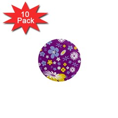 Floral Flowers 1  Mini Magnet (10 Pack)