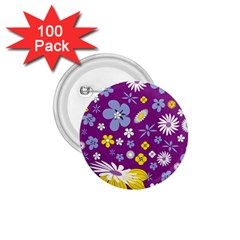 Floral Flowers 1 75  Buttons (100 Pack)