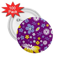 Floral Flowers 2 25  Buttons (100 Pack)