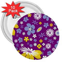 Floral Flowers 3  Buttons (10 Pack)