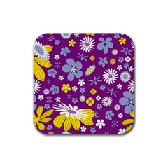 Floral Flowers Rubber Square Coaster (4 Pack)