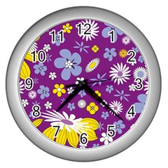 Floral Flowers Wall Clocks (silver)  by Nexatart
