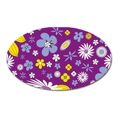 Floral Flowers Oval Magnet