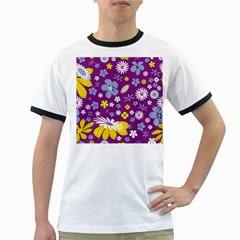 Floral Flowers Ringer T Shirts