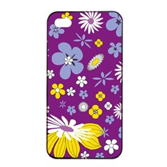 Floral Flowers Apple Iphone 4/4s Seamless Case (black)