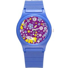 Floral Flowers Round Plastic Sport Watch (s)
