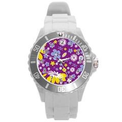 Floral Flowers Round Plastic Sport Watch (l)