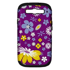 Floral Flowers Samsung Galaxy S Iii Hardshell Case (pc+silicone)