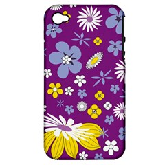 Floral Flowers Apple Iphone 4/4s Hardshell Case (pc+silicone)