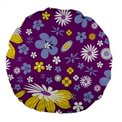 Floral Flowers Large 18  Premium Round Cushions