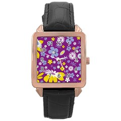 Floral Flowers Rose Gold Leather Watch