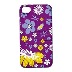 Floral Flowers Apple Iphone 4/4s Hardshell Case With Stand