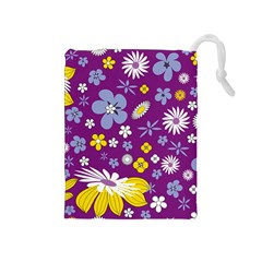 Floral Flowers Drawstring Pouches (medium)