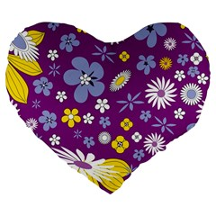 Floral Flowers Large 19  Premium Flano Heart Shape Cushions