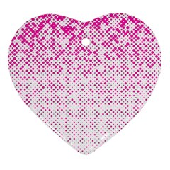 Halftone Dot Background Pattern Heart Ornament (two Sides)