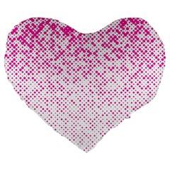 Halftone Dot Background Pattern Large 19  Premium Heart Shape Cushions