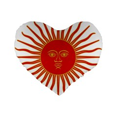 Peru Sun Of May, 1822 1825 Standard 16  Premium Flano Heart Shape Cushions by abbeyz71