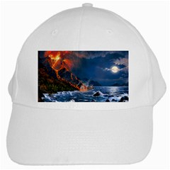 Eruption Of Volcano Sea Full Moon Fantasy Art White Cap by Sapixe