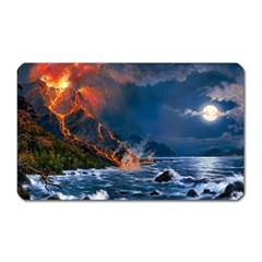 Eruption Of Volcano Sea Full Moon Fantasy Art Magnet (rectangular) by Sapixe