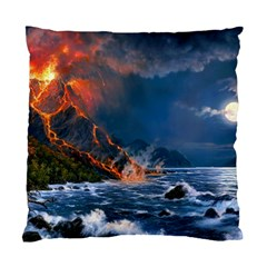 Eruption Of Volcano Sea Full Moon Fantasy Art Standard Cushion Case (one Side) by Sapixe