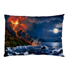 Eruption Of Volcano Sea Full Moon Fantasy Art Pillow Case (two Sides) by Sapixe