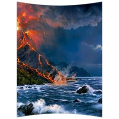 Eruption Of Volcano Sea Full Moon Fantasy Art Back Support Cushion by Sapixe