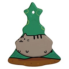 Fat Cat Christmas Tree Ornament (two Sides) by Sapixe