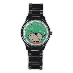 Fat Cat Stainless Steel Round Watch by Sapixe