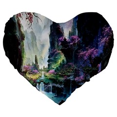 Fantastic World Fantasy Painting Large 19  Premium Flano Heart Shape Cushions by Sapixe
