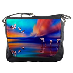 Flamingo Lake Birds In Flight Sunset Orange Sky Red Clouds Reflection In Lake Water Art Messenger Bags by Sapixe