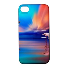 Flamingo Lake Birds In Flight Sunset Orange Sky Red Clouds Reflection In Lake Water Art Apple Iphone 4/4s Hardshell Case With Stand