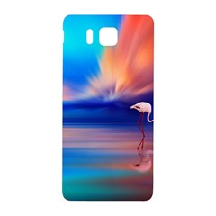 Flamingo Lake Birds In Flight Sunset Orange Sky Red Clouds Reflection In Lake Water Art Samsung Galaxy Alpha Hardshell Back Case by Sapixe