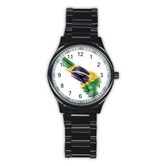 Flag Of Brazil Stainless Steel Round Watch by Sapixe