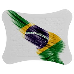 Flag Of Brazil Jigsaw Puzzle Photo Stand (bow) by Sapixe