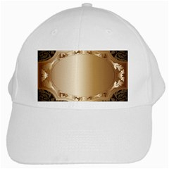 Floral Metal Pattern White Cap by Sapixe