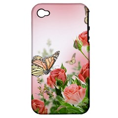 Flora Butterfly Roses Apple Iphone 4/4s Hardshell Case (pc+silicone) by Sapixe