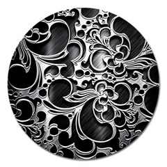 Floral High Contrast Pattern Magnet 5  (round) by Sapixe
