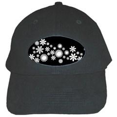 Flower Power Flowers Ornament Black Cap by Sapixe