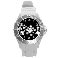 Flower Power Flowers Ornament Round Plastic Sport Watch (l) by Sapixe