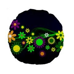 Flower Power Flowers Ornament Standard 15  Premium Round Cushions by Sapixe