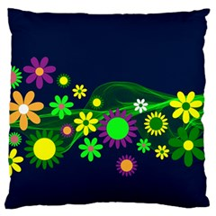Flower Power Flowers Ornament Large Flano Cushion Case (one Side) by Sapixe